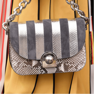 Prada Grey/Silver Striped/Python Flap Bag - Spring 2016