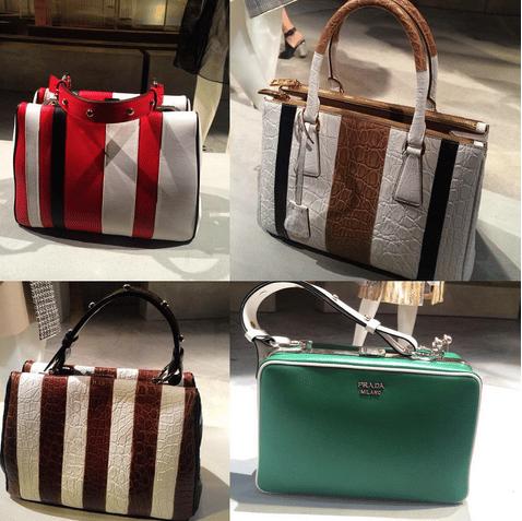 6f506e5088ac Prada Striped Top Handle Bags and Green Bag - Spring 2016. IG: martadonadi1