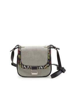 Proenza Schouler Black/White Canvas/Snakeskin Kent Tiny Shoulder Bag