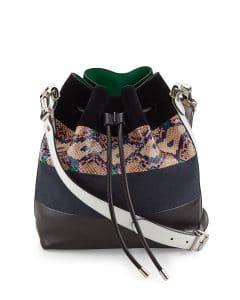 Proenza Schouler Multicolor Snakeskin-Striped Leather Medium Bucket Bag