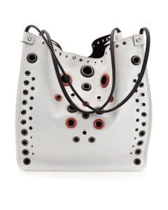 Proenza Schouler Optic White Grommet-Studded Medium Tote Bag