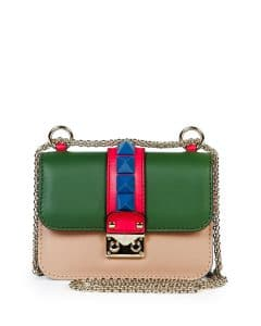 Valentino Beige/Blue/Pink/Green Four-Color Lock Flap Micro Shoulder Bag
