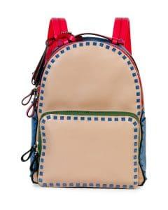 Valentino Beige/Blue/Pink/Green Four-Color Rockstud Medium Backpack Bag