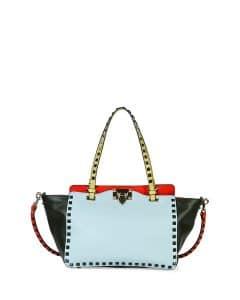 Valentino Beige/Blue/Pink/Green Four-Color Rockstud Mini Tote Bag