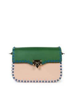 Valentino Beige/Blue/Pink/Green Four-Color Rockstud Rounded Messenger Medium Bag