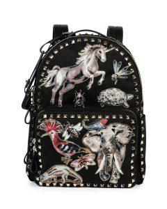 Valentino Black Animalia Embroidered Rockstud Backpack Medium Bag