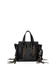 Valentino Black C-Rockee Studded Fringe Micro Shopper Tote Bag