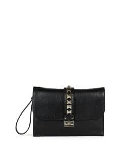 Valentino Black Lock Wristlet Clutch Large Bag