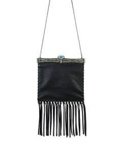 Valentino Black Metal-Framed Leather Fringe Shoulder Bag