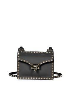 Valentino Black Rockstud Lock-Flap Square Shoulder Bag