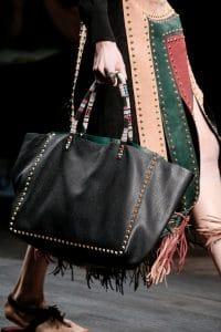 Valentino Black Rockstud Tote Bag with Multicolor Handles - Spring 2016
