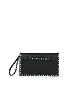 Valentino Black with Turquoise Studs Rockstud Clutch Medium Bag