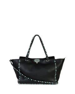 Valentino Black with Turquoise Studs Rockstud Medium Tote Bag