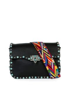 Valentino Black with Turquoise Studs Rockstud Saddle Bag with Embroidered Strap