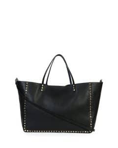 Valentino Black/Blue Rockstud Reversible Tote Large Bag