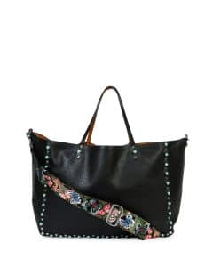 Valentino Black/Camel with Turquoise Studs Rockstud Tote Bag with Butterfly Embroidered Strap