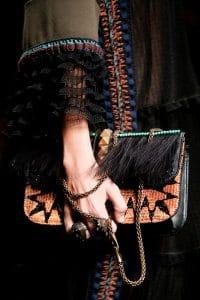 Valentino Black/Multicolor Embroider Lock Flap Bag - Spring 2016
