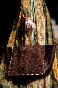 Valentino Brown Elephant Print and Embellished Rockstud Tote Bag - Spring 2016