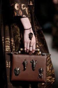 Valentino Brown Embellished Box Clutch Bag - Spring 2016