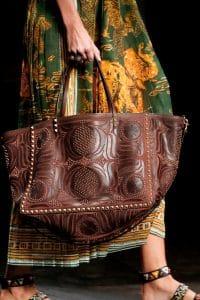 Valentino Brown Embellished Rockstud Tote Bag - Spring 2016