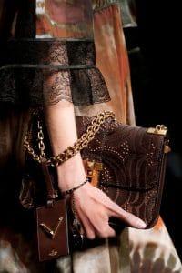 Valentino Brown Embroidered B-Rockstud Flap Bag - Spring 2016