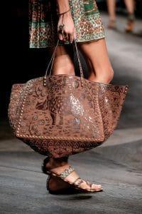 Valentino Brown Rhino Print and Embellished Rockstud Tote Bag - Spring 2016