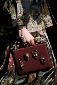 Valentino Burgundy Embellished Box Clutch Bag - Spring 2016