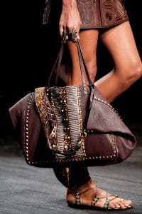 Valentino Burgundy Hand-Painted Rockstud Tote Bag - Spring 2016
