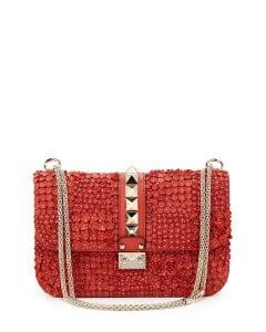 Valentino Deep Coral Floral Applique Lock Flap Bag