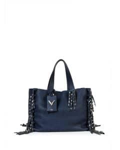 Valentino Denim Blue C-Rockee Studded Fringe Tote Bag