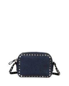 Valentino Denim Blue Leather Rockstud Camera Crossbody Bag