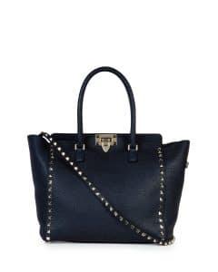 Valentino Denim Blue Leather Rockstud Medium Shopper Bag