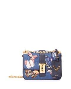 Valentino Denim Butterfly Embroidered B-Rockstud Flap Bag