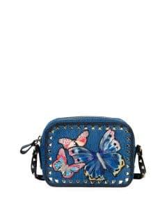 Valentino Denim Butterfly Rockstud Camera Crossbody Bag