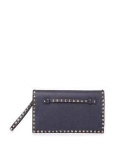 Valentino Denim Leather Rockstud Clutch Bag