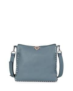 Valentino Gray Rockstud Messenger Small Bag