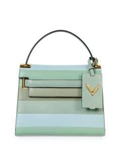 Valentino Green Multicolor Striped My Rockstud Top Handle Bag