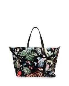 Valentino Multicolor Animalia:Camouflage Print Rockstud Reversible Tote Bag