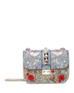 Valentino Multicolor Embroidered Lock Flap Small Bag