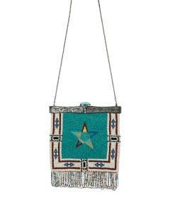 Valentino Multicolor Metal-Framed Beaded Fringe Star Shoulder Bag
