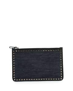 Valentino Navy Rockstud Large Pouch Bag