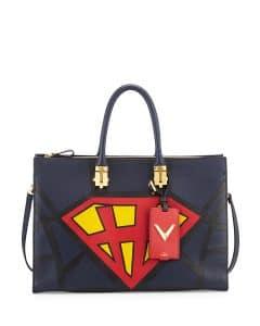 Valentino Navy/Red/Yellow Superhero Superman Tote Bag