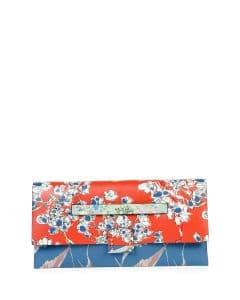 Valentino Orange/Blue Floral Print Mime Clutch Bag