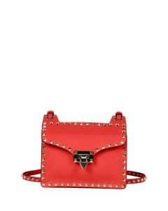 Valentino Red Rockstud Lock-Flap Square Shoulder Bag