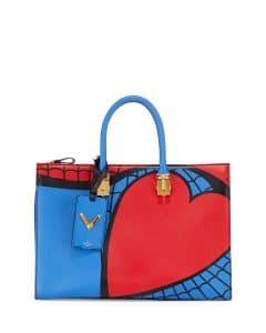 Valentino Red/Blue Superhero Spiderman Tote Bag