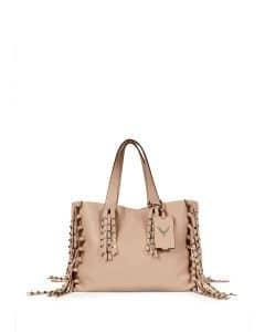 Valentino Taupe C-Rockee Studded Fringe Tote Bag