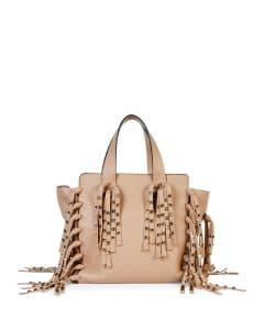 Valentino Taupe C-Rockee Studded Fringe Micro Shopper Tote Bag
