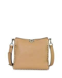 Valentino Taupe Rockstud Messenger Small Bag