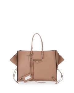 Balenciaga Beige Contrasting Trim Papier A4 Zip Tote Bag