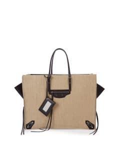 Balenciaga Beige/Black Linen Papier A4 Zip-Around Tote Bag
